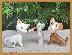 Aquincum porcelán bólogató kutya, macska és ritka antik gólya
