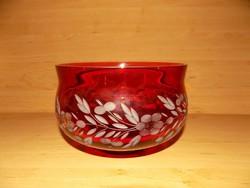 Retro piros csiszolt üveg tál asztalközép (6p)