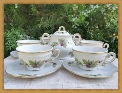 HÉTFŐ DÉLUTÁNIG ! Rendkívül szép, ritka ribizli mintás Zsolnay teáscsésze készlet + cukortartó