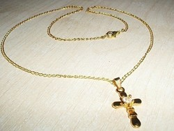 Kereszt CZ köves ezüst -Arany medál + ajándék nyaklánc