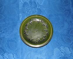 Zöld mázas kerámia falitányér 18 cm (n)