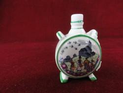 Zsolnay porcelán antik mini kulacs. Pajzsmintás.