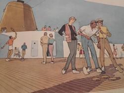 """Az 1959-ben épített """"BREMEN"""" Észak-német Lloyd zászlóshajó-  reklám kiadvány ,újság"""