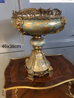 Antik gyümölcstál-kináló-bronz -porcelán-asztalközép, center