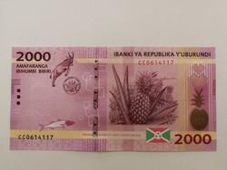 Burundi 2000 Francs UNC 2015