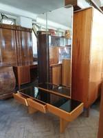 Régi retro mid century tükrös fiókos előszoba bútor szekrény