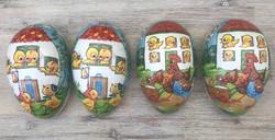 Régi húsvéti papírmasé cukortartó tojás 2 db csibe, kakas mintával