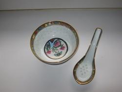 Régi jelzett kínai leveses tál kanállal, aranyozott