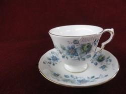 Queen Anne angol teáscsésze + alátét, vitrin minőség, gyönyörű kék virágos.