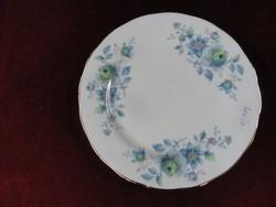 Queen Anne angol süteményes tányér, gyönyörű kék virágos, vitrin minőség.
