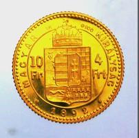 1892 Ferenc József arany 4 Forint Limitált ÁPV utánveret, csak 100 db-os 3,225 g / 900