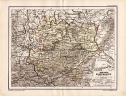 Alsó - Ausztria térkép 1885, eredeti, német nyelvű, osztrák atlasz, Kozenn, Európa, Bécs, monarchia