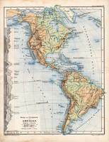 Amerika térkép 1885, eredeti, német nyelvű, osztrák atlasz, Kozenn, hegy, vízrajz, kontinens, észak
