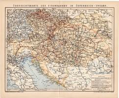 Osztrák - Magyar Monarchia vasúthálózatának áttekintő térképe 1900, német, eredeti, térkép, vasút