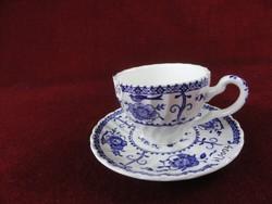 JOHNSON BROTHERS angol porcelán kávéscsésze + alátét. Kobalt kék, domború nyomással.