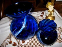 2  kék üveg váza