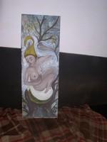 Kikelet! Mindjárt ébred a természet! Olajos tempera, rétegelt lemez, 64 x 25 cm- Lehoczky József
