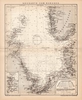 Északi - tenger térkép (Seekarte) 1899, német nyelvű, eredeti, Brockhaus, lexikon melléklet, Európa