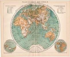 Keleti félteke térkép 1894, német, eredeti, lexikon melléklet, Brockhaus, világtérkép, világ, Európa