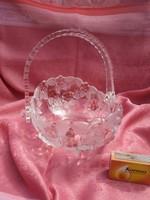 Gyönyörű virágmintás üveg kosárka