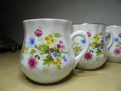 Zsolnay hasas pocakos csupor 6 db virágos porcelán bögre hibátlan állapotban!