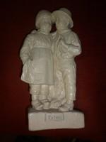 Antik gipsz szobor páros gyerek figura