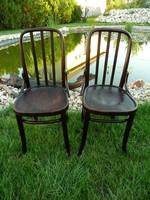 Különleges formájú, szép, teljesen stabil eredeti antik jelzett osztrák Thonet-Mundus szék pár eladó