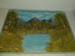 Hegyekben, 50 x 70 cm olajfestmény vászonra