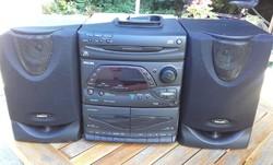 Philips FW 332/ 22   retro hifi torony : rádió, 2 kazettás  magnó, CD lejátszó,  2 hangfal