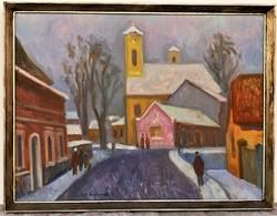 Kántor Andor (1901 - 1990) Téli nap Szentendrén c. olajfestménye. 84x64cm EREDETI GARANCIÁVAL!!