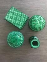 Art deco malachit zöld üveg ritka gyűjtemény (gyertyatartó, cukortartó)