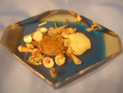 Levélnehezék kagylókkal dísz  17 cm-es