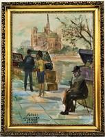 Ismeretlen festő (lásd szignó) Könyvvásár a Szajna parton. olajfestmény 90x70cm EREDETI GARANCIÁVAL