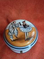 Antik festett porcelán tégely/doboz Pierot figurás