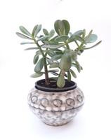 Hódmezővásárhelyi retro iparművész kerámia kaspó - szürke foltos körmintás virágtartó