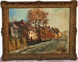 Élesdy István (1912 - 1987) Utcarészlet c. olajfestménye 98x76cm EREDETI GARANCIÁVAL !