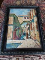 Újházy Ferenc  antik festmény, Jeruzsálem.