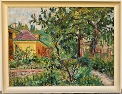 Orosz Gellért (1919 - 2002) Napos kert c. Képcsarnokos olajfestménye 86x66cm EREDETI GARANCIÁVAL !!