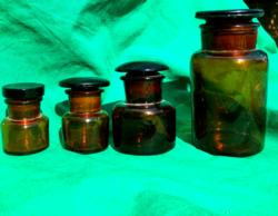 Antik  csiszolt fedelű patikaüvegek