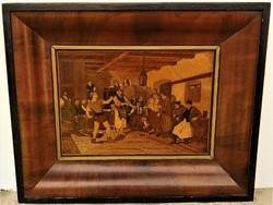 Intarziás mestermunka ,falusi életkép 1920 körüli jelzett Pittel Béla Hibátlan eredeti antik darab !