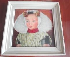 Festmény nyomat keretezve, üvegezve, 12 x 12 cm