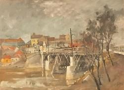 Holba Tivadar (1906 - 1995) Sárospataki öreg híd c olajfestménye EREDETI GARANCIÁVAL !!