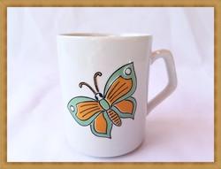 Ritka, lepke-virág mintás retro Zsolnay porcelán bögre