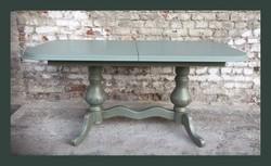 Vintage,provance étkező asztal,zöld, arannyal antikolva