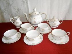 Nagyon szép és ritka aranyozott festésű német Roschütz porcelán teás készlet