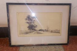Üvegezett fekete színű fa képkeret 42,5*29 cm