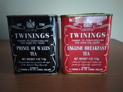 2 db régi, Twinings (Prince of Wales, English Breakfast) pléh teás doboz eladó