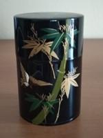 Japán, kínai, fekete pléh teás doboz (virág mintás) eladó