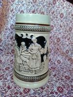 Antik, szecessziós, fél literes westerwaldi kőkerámia söröskorsó 1900-ból