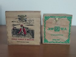 2 db régi, fa teás (Darjeeling) doboz eladó